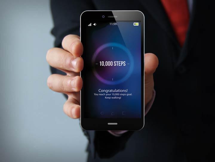 Schrittzähler Smartphone-Apps