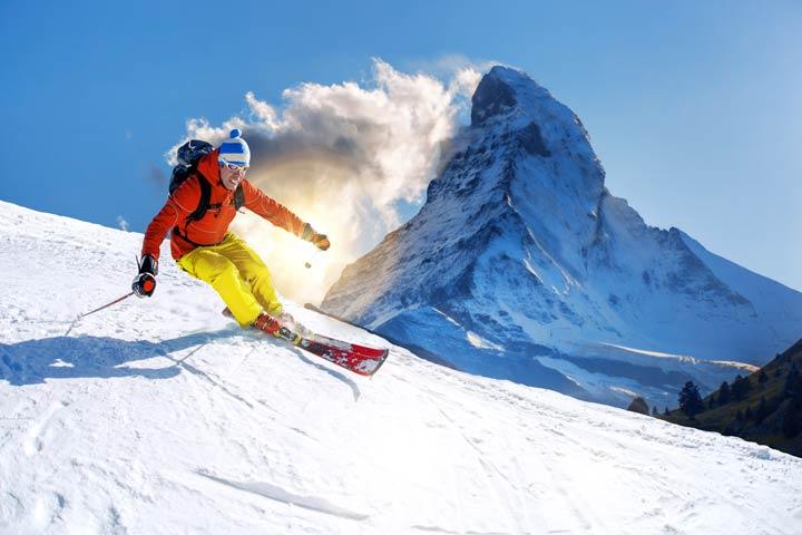 Skifahren im Schatten des Matterhorns